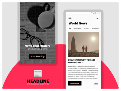 Headline - News App google apple news ps shape trending figma android app ui ux typography illustration vector 3d graphic design logo design branding icon