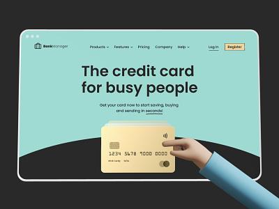 Bank App mockup dribbble brand company bank fintech card landing page website 3d ux vector illustration typography ui app design logo branding icon