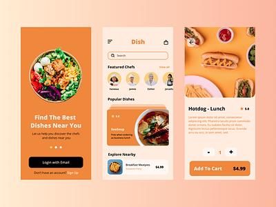 Dish - food & chef discovery app cart restaurant popular stories onboarding gradient orange apple android dish food ux illustration typography ui app design logo branding icon