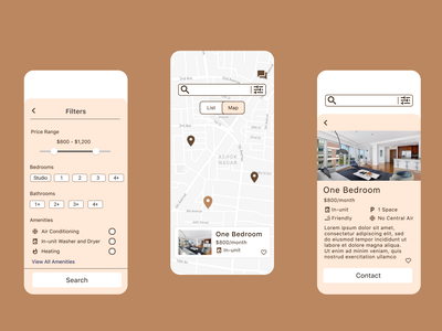 Off Campus school student dorm apartment hunt apartment home house finder houses filter search map brown ux design ui