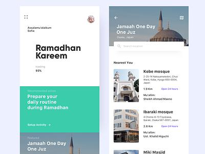 Ramadhan Activity ux uidesign app minimalist ui design
