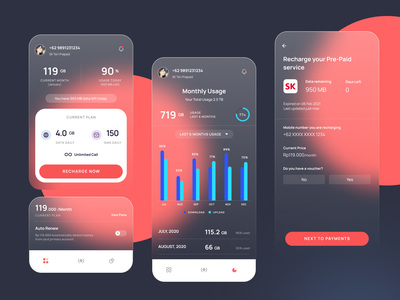 Data Usage Pre-Paid interaction datausage uidesign minimalist interaction design ux ui