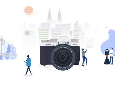 Play Arround with Fuji Xt2 flat fujifilm illustration camera