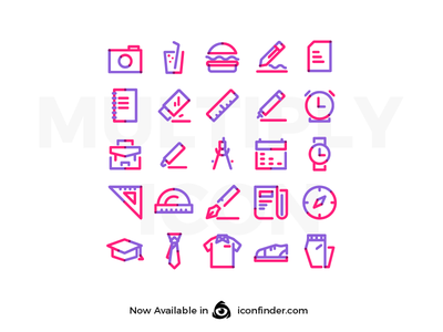 Multiply Icon: School Tools Set Vol 01 pixelperfect stroke lineicon lineart simplicity website ui design icon