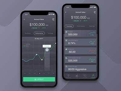 Invest App UI Dark Version dashboard mobile modern grey dark design iphonex invest ux ui app iphone