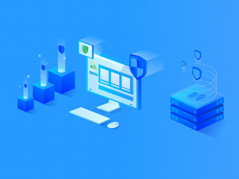 Secure Your Website illustration hosting website secure isometric