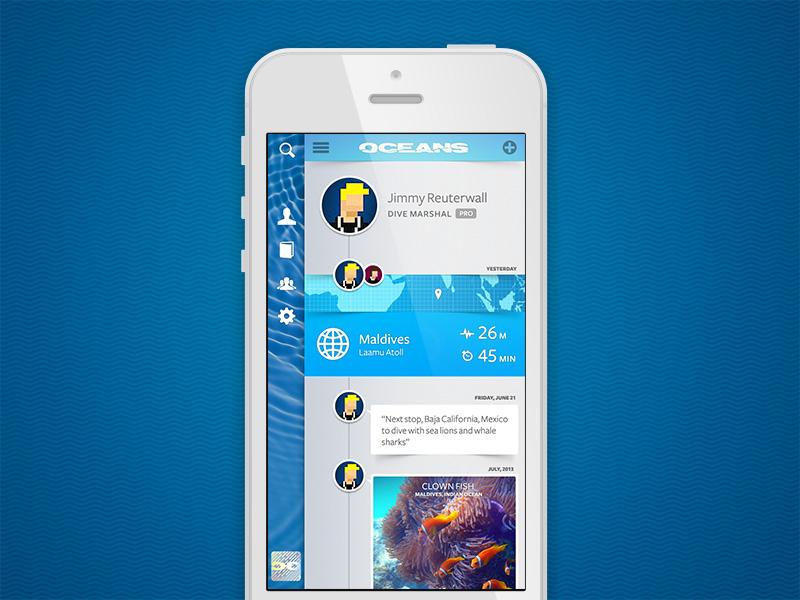 Oceans UI, Screenshot oceans scuba diver iphone app ui
