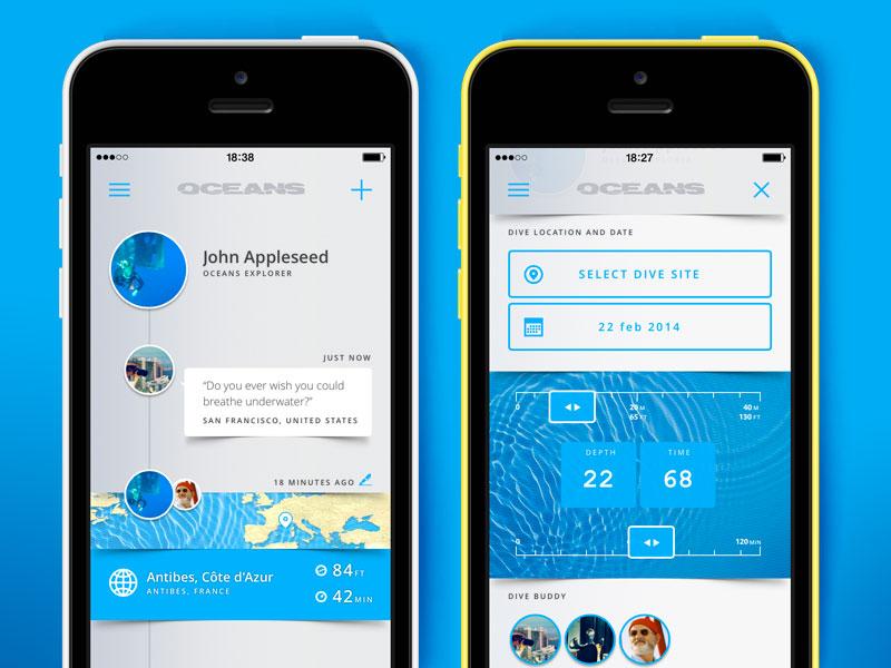 Oceans for iOS oceans scuba diver iphone app ui blue