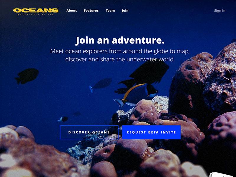 Oceans.io oceans scuba diver iphone app ui blue web responsive underwater