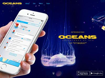 New oceans.io landing page oceans scuba diver iphone app ui blue web responsive underwater