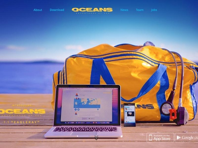 "Oceans 1.1 ""Eagleray"" underwater responsive web blue ui app iphone diver scuba oceans"