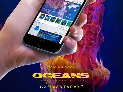 "Oceans 1.2 ""Mantaray"" underwater web blue ui teaser preview app iphone diver scuba oceans"