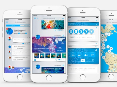 "Oceans 1.2 ""Mantaray"" Features underwater web blue ui teaser preview app ios iphone diver scuba oceans"