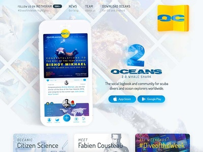 Oceans.io update app scuba video animated water yellow oceans