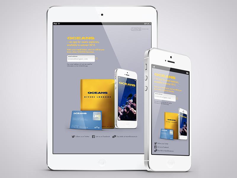 Oceans, Responsive Views oceans responsive iphone ipad landing app gray background