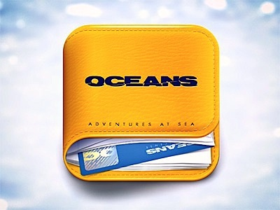 Oceans iOS Icon ipad iphone photoshop leather stitches oceans app icon ios yellow perspective book card water paper logo