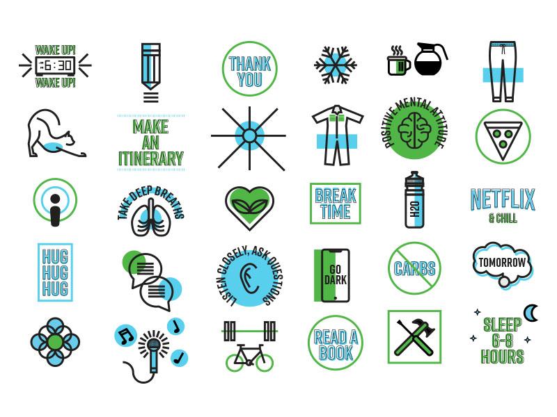 Enhance Your Life Icon Set illustration cat exercise logo icons icon