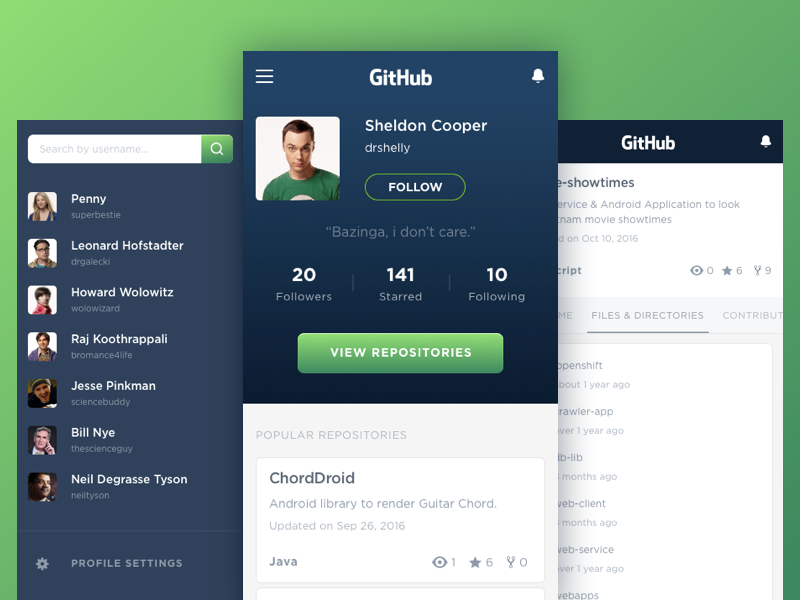 Github App Concept by Anh Quan on Dribbble