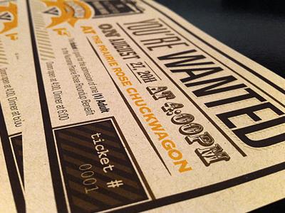Ticket Design ticket kraft typography western