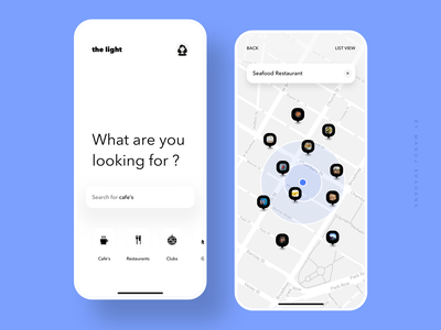 the light -  A better way to explore neighbourhood design johnyvino branding interaction app app design ui ux clean