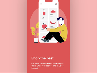 Onboarding for grocery store app clean ui minimal userinterface user experience online shopping designer johnyvino app design ecommerce online store interaction ui ux clean design animation onboarding ui onboarding illustration onboarding