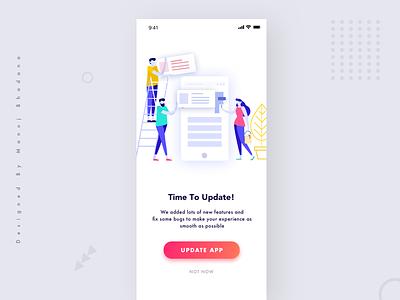 Update App Screen clean illustration x design ui ux blank state app update