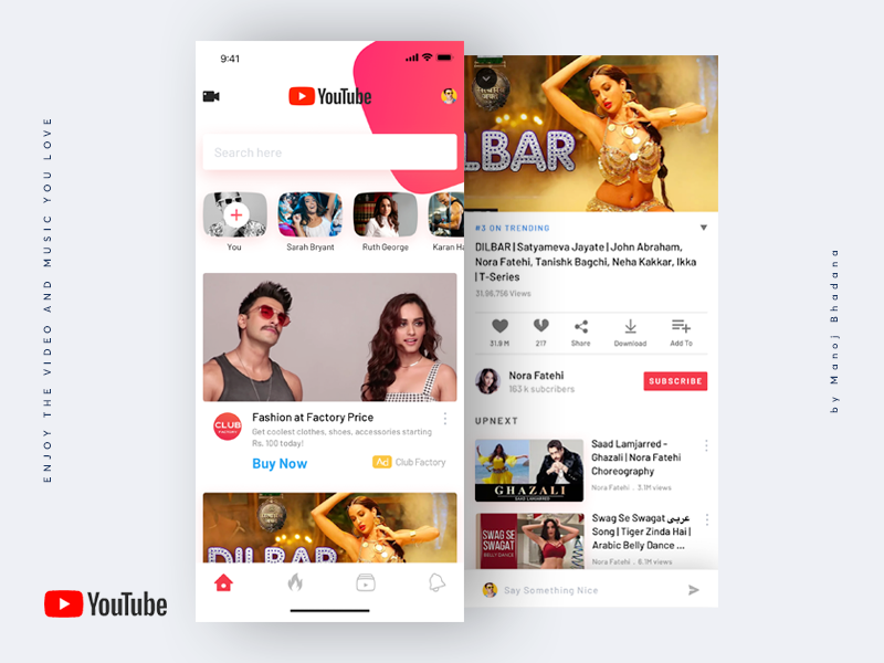 Youtube Redesign Concept by Manoj 🇮🇳 on Dribbble