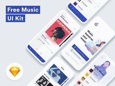 Free Music Ui Kit illustration typography clean design animation kit music design ui ux