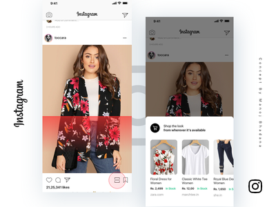 Instagram Shopping By Manoj Bhadana ios concept abstract ecommence shopping instagram interaction animation design clean app ui ux