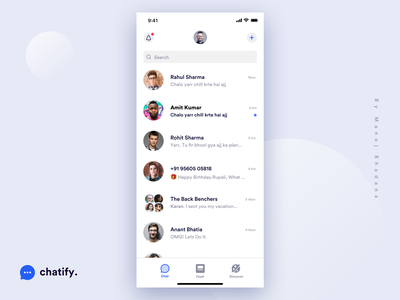 Chat Home Screen - Chatify interaction clean design manoj bhadana app design ui ux chatting chat app chat