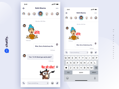 Parallel Chat - shift easily between several chats animation app interaction illustration manoj bhadana design clean ui ux chatting chat