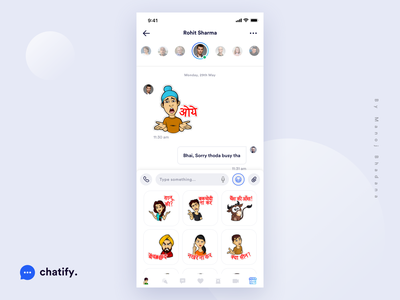 Chatify - Stickers Screen vector ui ux illustraion stickers manoj bhadana design clean ui ios app app design hike whatsapp social app texting chat