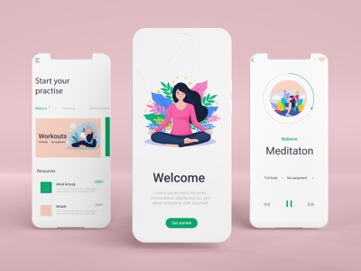 Yoga Meditation App   UI/UX Design workout meditation health ui yoga