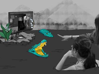 Swamp Feedback - Photoillustration marillcreative chaulong photoshop flowers illustration photo crocodile animals