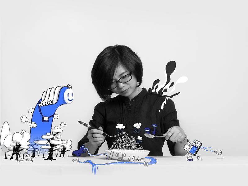 Meal from wacom pen - Photoillustration photo vector graphics illustration