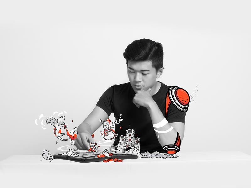 Pokemon chess fighter - Photoillustration design photo vector graphics illustration
