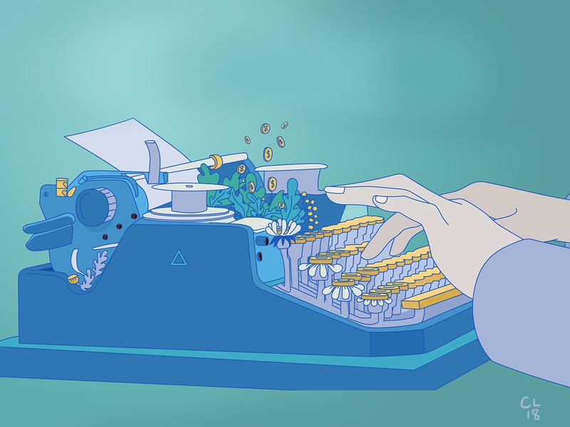 Money-back typewriter content typewriter money blue design vector graphics illustration