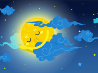 Sleeping baby moon