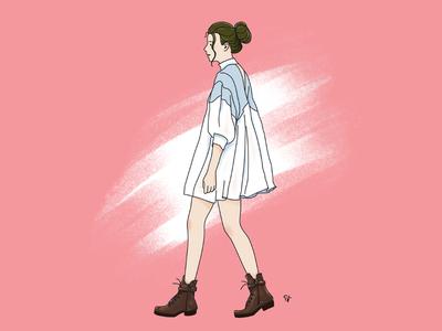 Girl wearing vintage dress