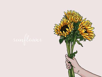 Sunflowers simple draw flower sunflowers