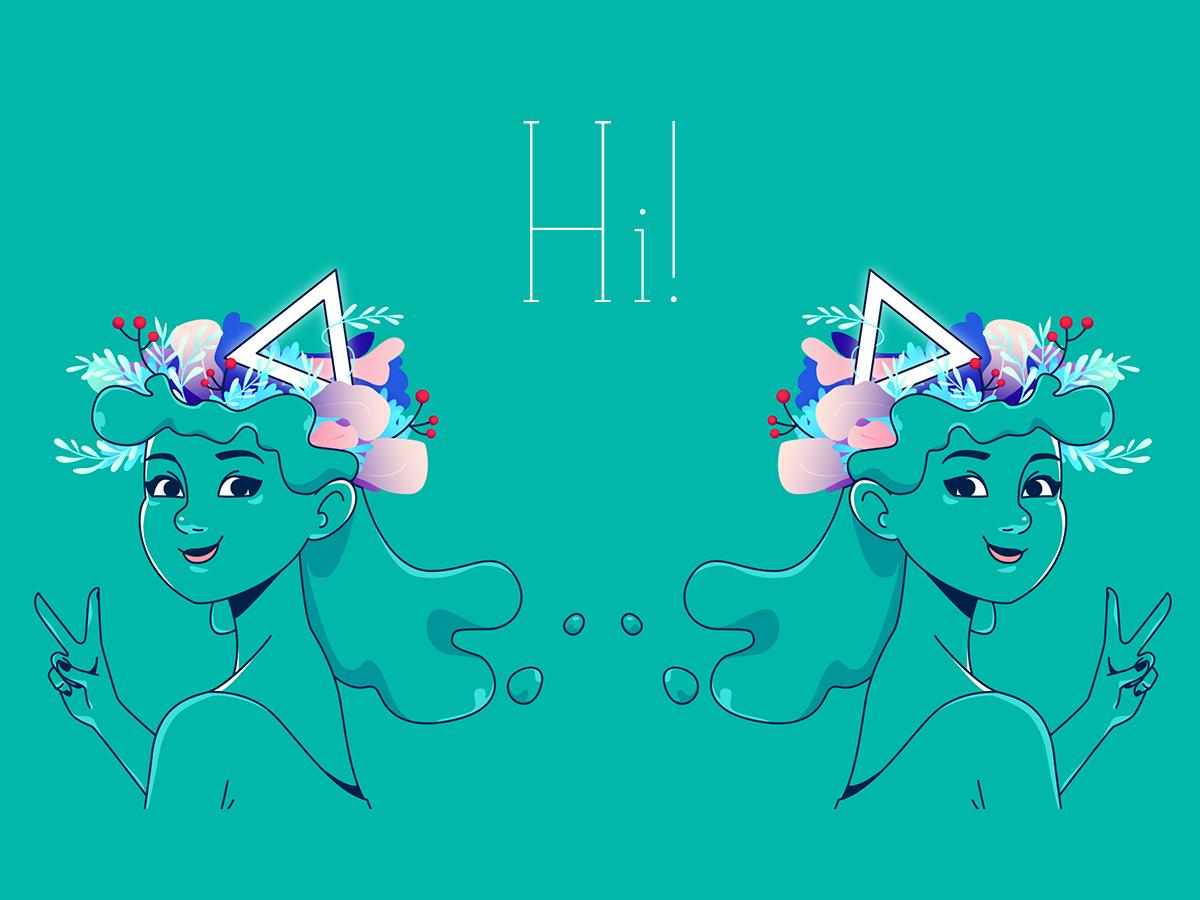 Hi! waterhair leaf leaves vector blue girl cute design graphics illustration