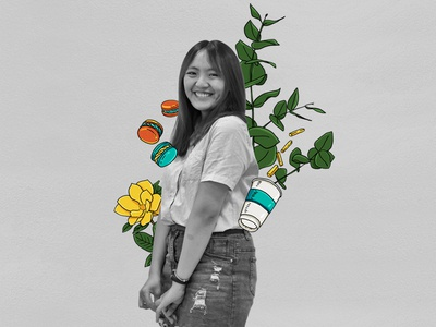 Girl with coffee cup, snack, flower, macaron and eucalyptus l. brush photoshop photoillustration photo girl love cute graphics design illustration