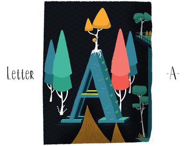 Letter A - with orange tree vectors trees letter icon vector branding logo ui illustration