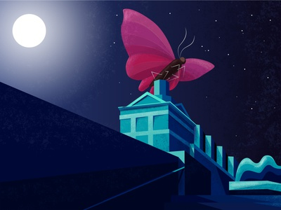Night guardian digital illustration illustration art digitalart minimalistic night city night butterfly loonars illustration