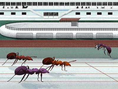 Sprinters insect ant ants loonars minimalist illustration