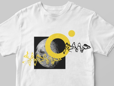 Branding Tshirt illustration blackandwhite black and white yellow bold flat simple visual identity visualization mock-up identidade visual identity design identity moonshine collage moon logo vector typography branding illustration