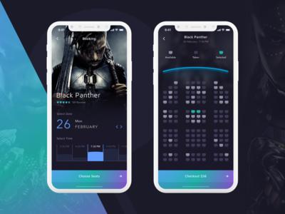 Cinema App - Concept green blue ticket colour color mobile dark movie gradient ios app app cinema