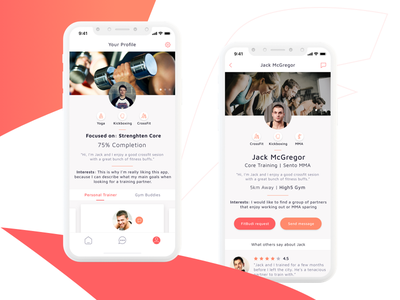 FitBudi - Fitness App orange red personal trainer workout ios app mobile app yoga fitness bud fit app