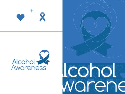 [WIP]AlcoholAwareness Logo & Brand addiction organization non-profit heart ribbon alcohol branding logo