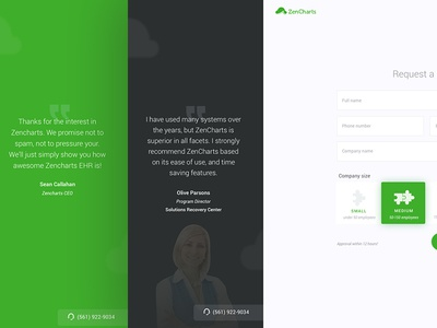 Request a Demo page for Zencharts EHR [Redesign] thank you testimonial website form request a demo demo